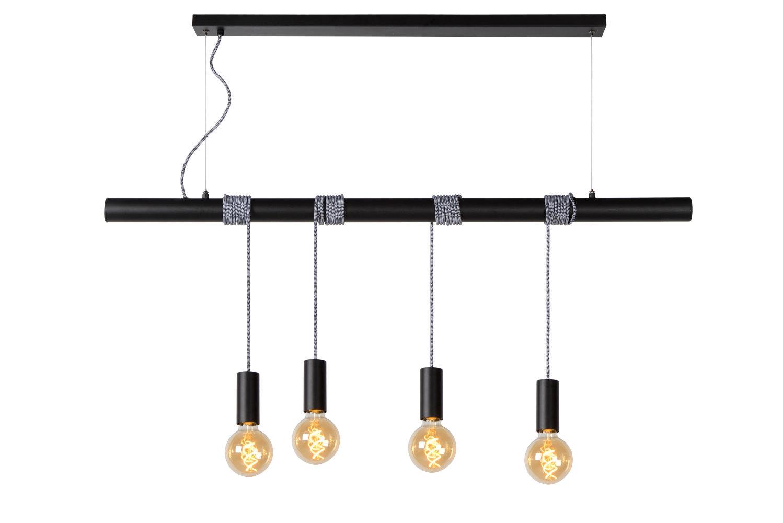 Lucide JAIME Hanglamp-Zwart-4xE27-60W-Metaal