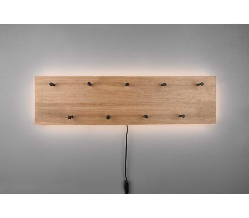 Kapstok Romy LED 75 x 20 cm 9 haken Hout