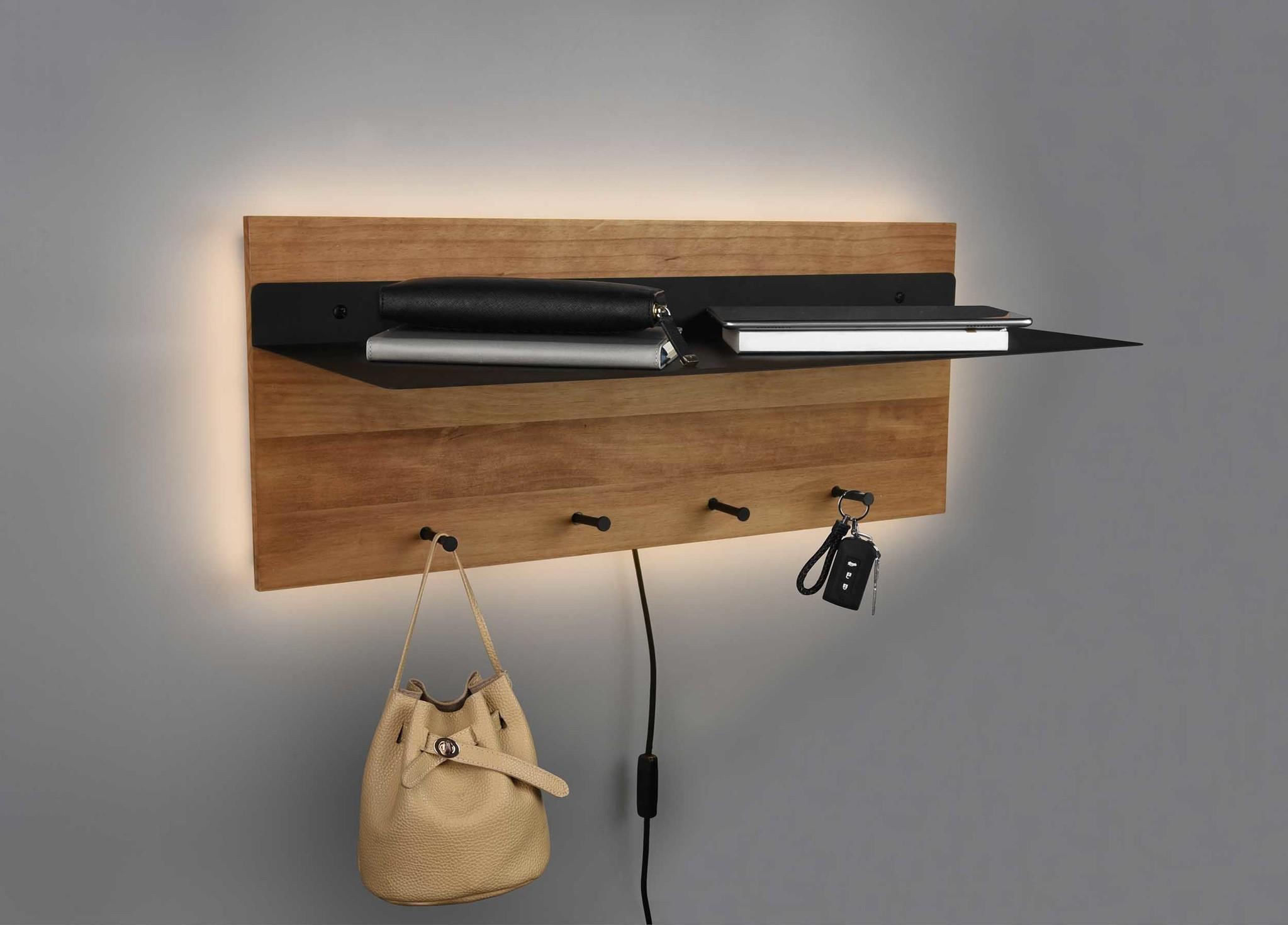 Trio Leuchten Kapstok Romy LED 75 x 30 cm 4 haken en legplank Hout