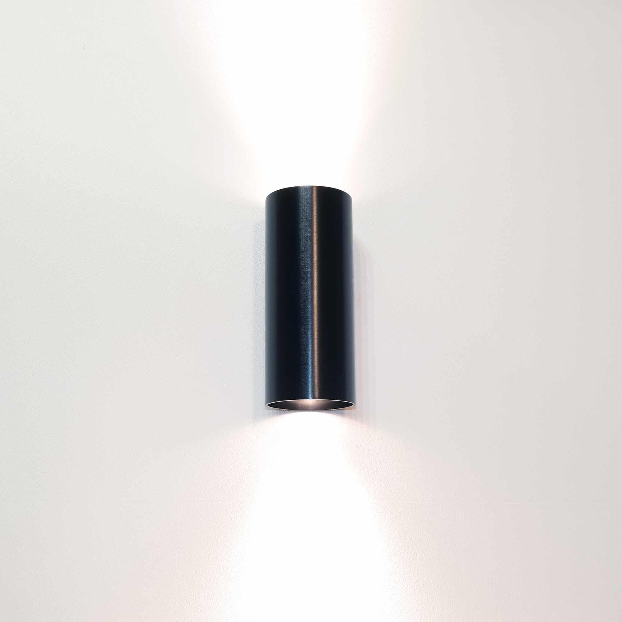 Artdelight Wandlamp Roulo 2 lichts H 15,4 Ø 6,5 cm zwart
