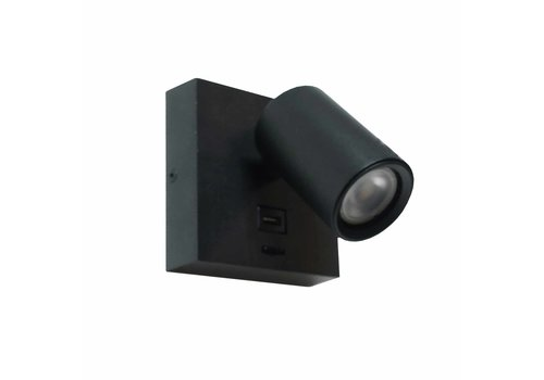 Artdelight Wandlamp Master USB zwart