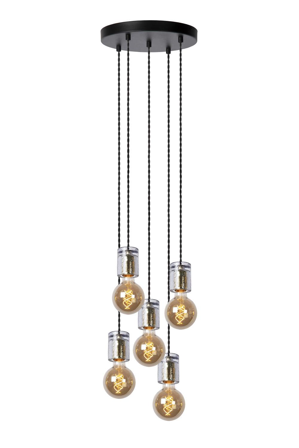 Lucide GELKA Hanglamp-Fumé-Ø30-5xE27-40W-Glas