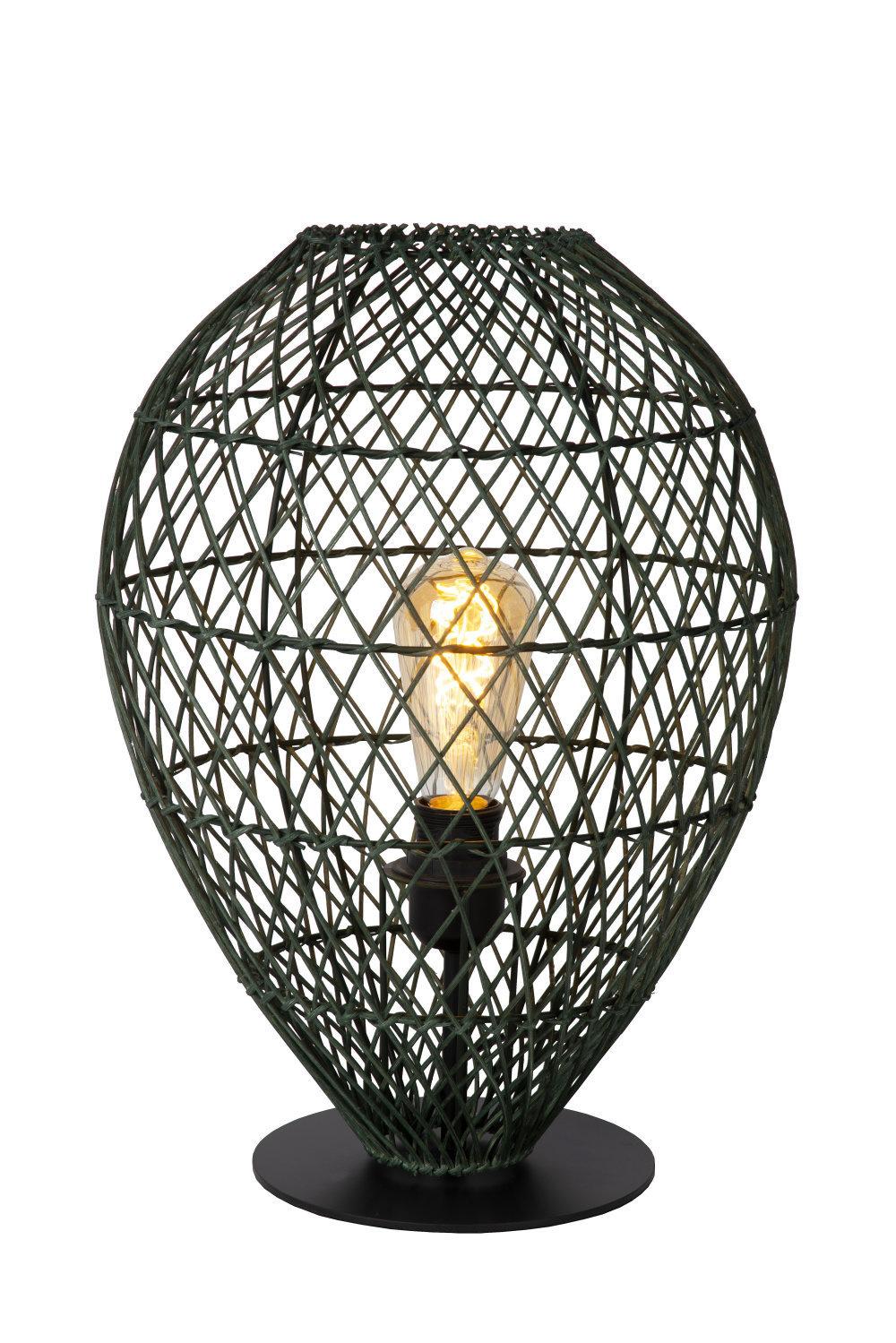 Lucide KENJIRO Tafellamp-Groen-Ø30-1xE27-40W-Rotan