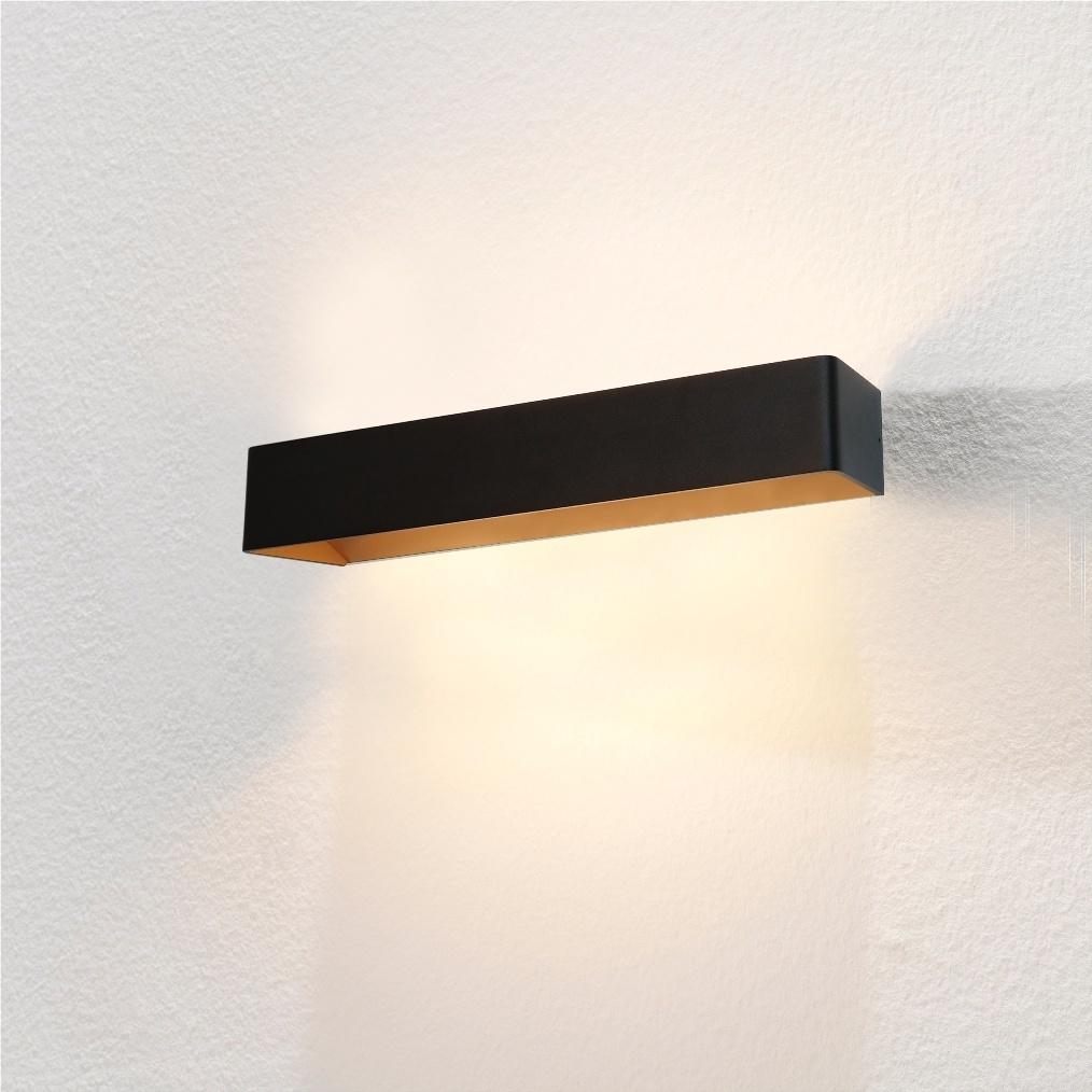 Artdelight Wandlamp Mainz XL 50 x 7 cm zwart goud