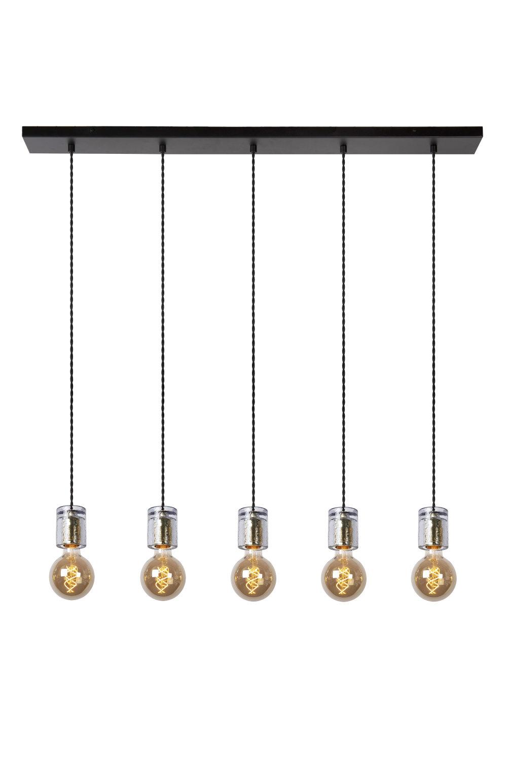 Lucide GELKA Hanglamp-Fumé-5xE27-40W-Glas