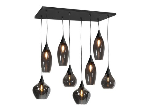 Highlight Hanglamp Cambio 8 lichts L 95 x  B 40 cm zwart