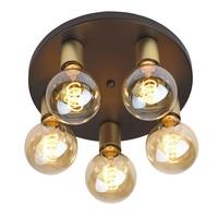 Plafondlamp Basiq  5 lichts Ø 30 cm E27 zwart goud