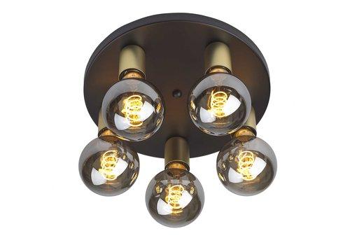 Ylumen Plafondlamp Basiq  5 lichts Ø 30 cm E27 zwart goud
