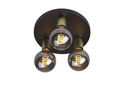 Ylumen Plafondlamp Basiq  3 lichts Ø 25 cm E27 zwart goud