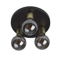 Plafondlamp Basiq  3 lichts Ø 25 cm E27 zwart goud