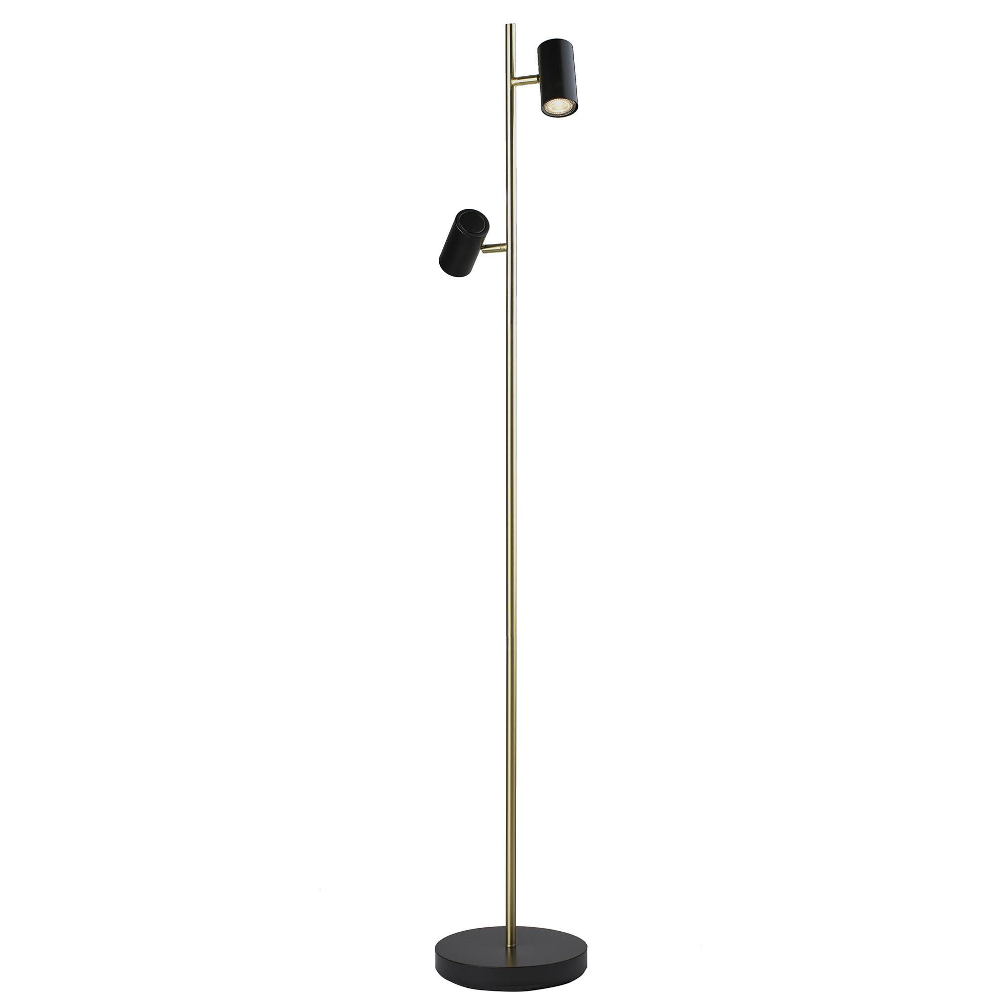 Highlight Vloerlamp Burgos 2 lichts H 142 cm zwart goud