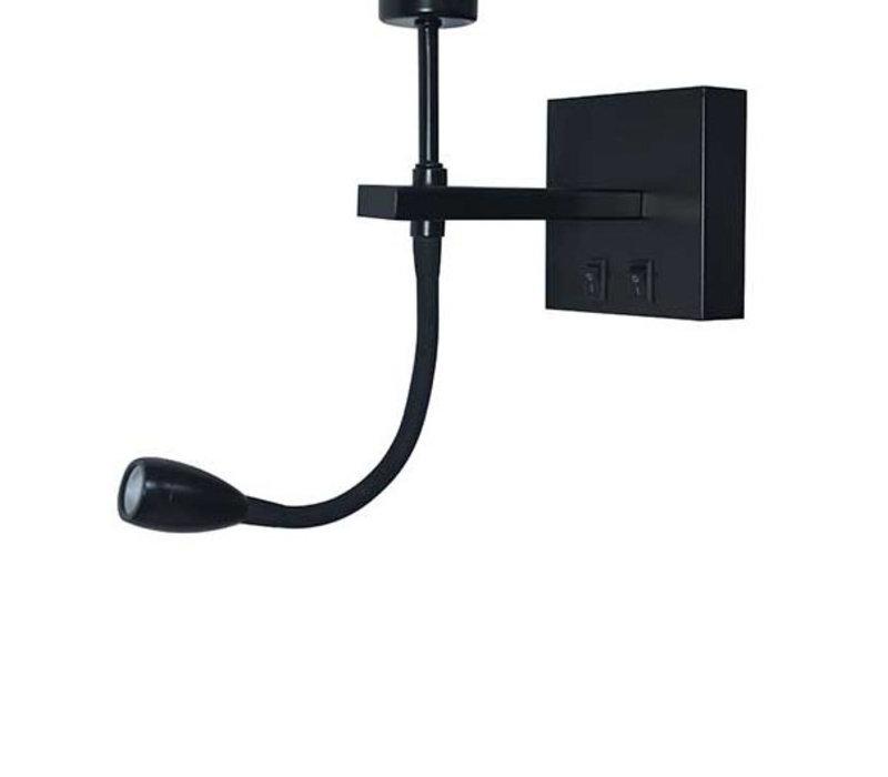 Wandlamp Quad incl. kap Ø  20 cm zwart