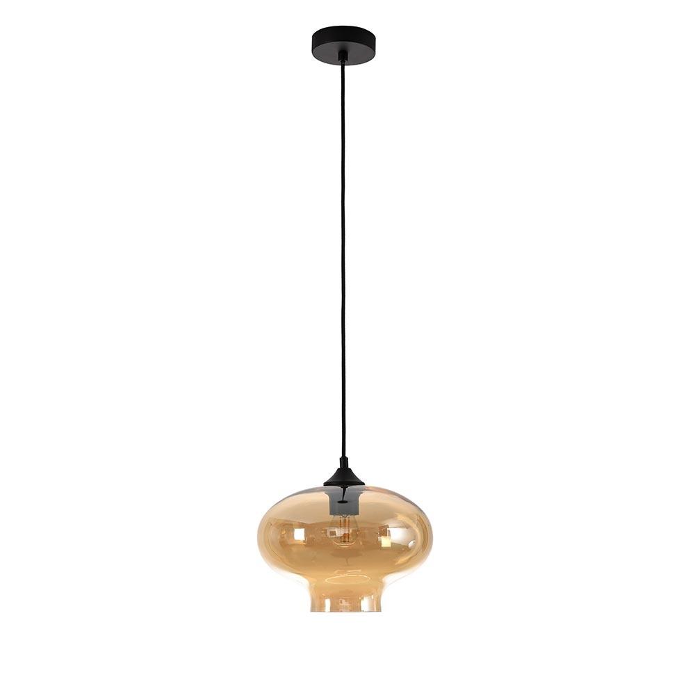 Artdelight Hanglamp Toronto Ø 27 cm amber glas zwart