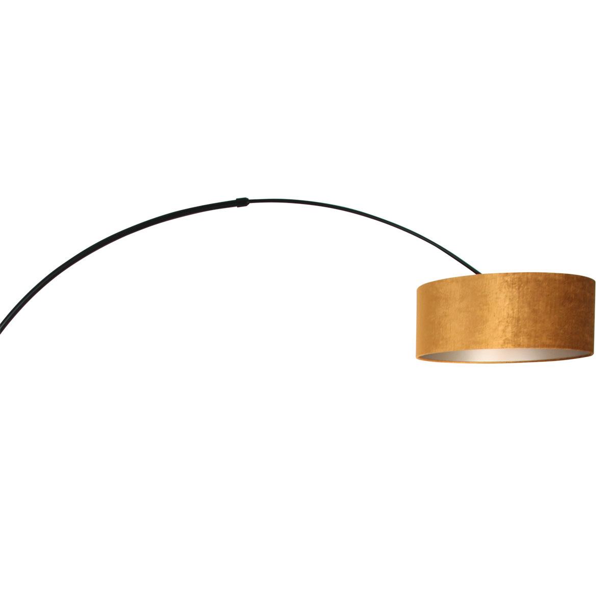 Steinhauer Vloerlamp Sparkled light 8129 zwart kap gouden velours