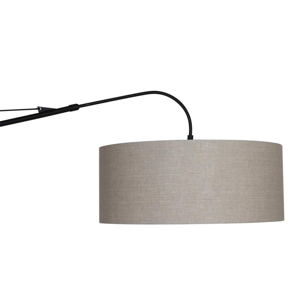 Steinhauer Wandlamp elegant classy 9324 zwart kap grijs linnen grof