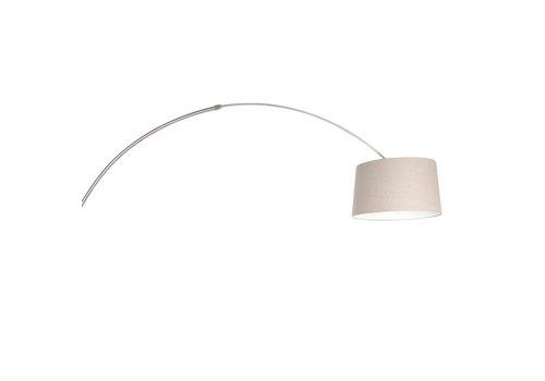 Steinhauer Vloerlamp booglamp Sparkled light 9676 staal kap linnen grijs