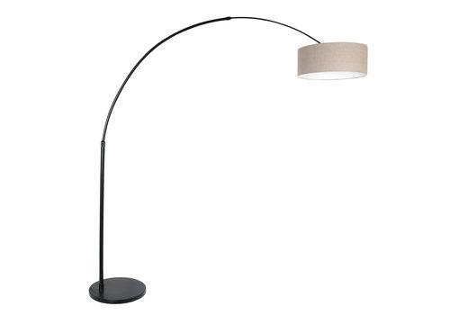 Steinhauer Vloerlamp Sparkled light 9900 zwart kap grijs linnen
