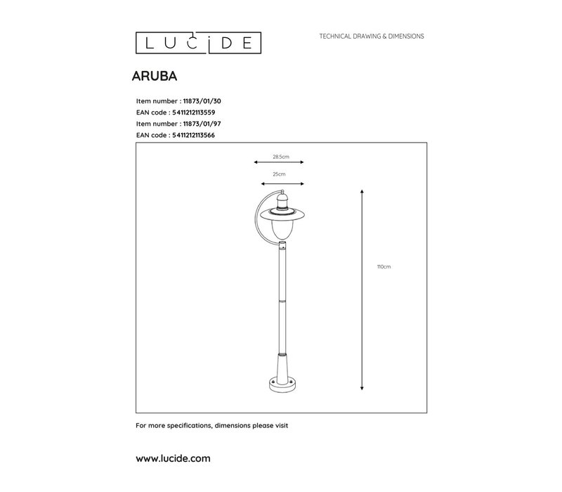 ARUBA Lantaarnpaal Buiten-Roest .-1xE27-24W-IP44