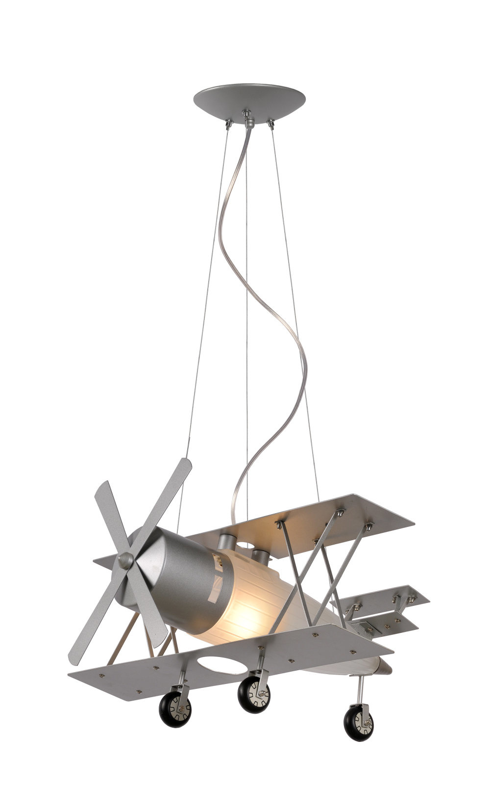 Lucide FOCKER Hanglamp Kinder-Grijs-1xE27-60W-Metaal