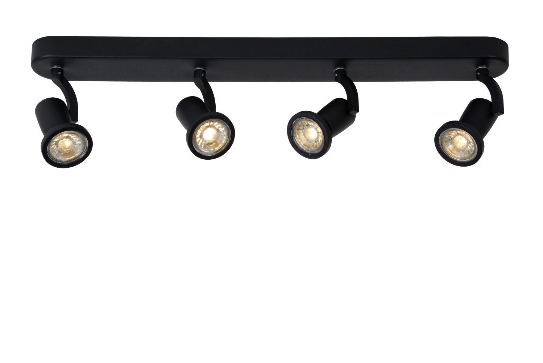 Lucide JASTER-L. Plafondspot-Zwart-LED-4xGU10-5W-2700K