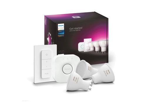 Philips HUE starterskit 3 LED lampen GU10 White and Color Ambiance met bridge en switch