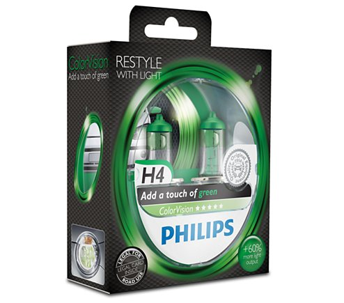 Philips H4 ColorVision Groen Duobox