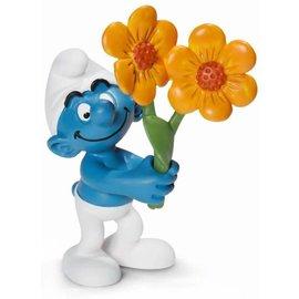 Schleich Schlumpf mit Blumenstrauss