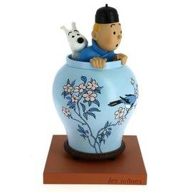 moulinsart Kuifje beeld in Chinese vaas