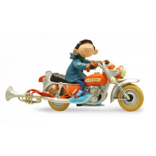 Plastoy Statue  Guust Flater on his motorcycle (Gaston Lagaffe)