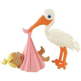 Comansi Figuurtje Ooievaar brengt baby girl