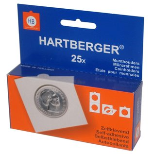 Hartberger coinholders self adhesive square 24 mm - set of 25