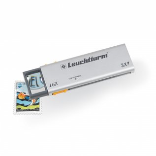 Leuchtturm LED-Pull-Out-Magnifier Duplex, 3x & 6x magnification