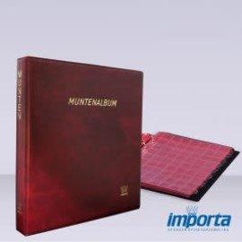 Importa Populair De Luxe Muntenalbum met 5 muntbladen en rode schutbladen - rode kaft