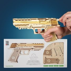 UGears Rubber band pistol self assembly kit Wolf-01