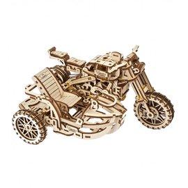 UGears Houten bouwpakket motor met zijspan Scrambler UGR-10