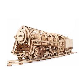 UGears Houten bouwpakket mechanische Locomotief met tender
