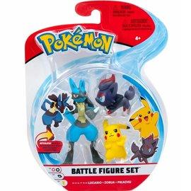 BOTI Pokémon Battle Figure Set - Lucario + Zorua + Pikachu
