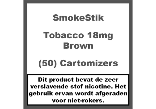 SmokeStik Cartomizer Regular Tabak Bruin 18mg (50)