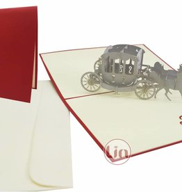 Pop up wedding card, wedding carriage