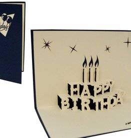 Pop up birthday card, birthday cake (blue)