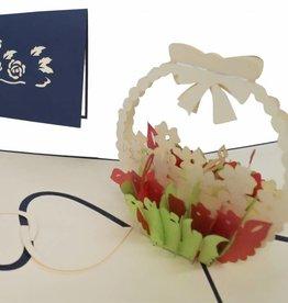 Pop Up 3D Karte, Geburtskarte, Glückwunschkarte Muttertag, Blumen, N34