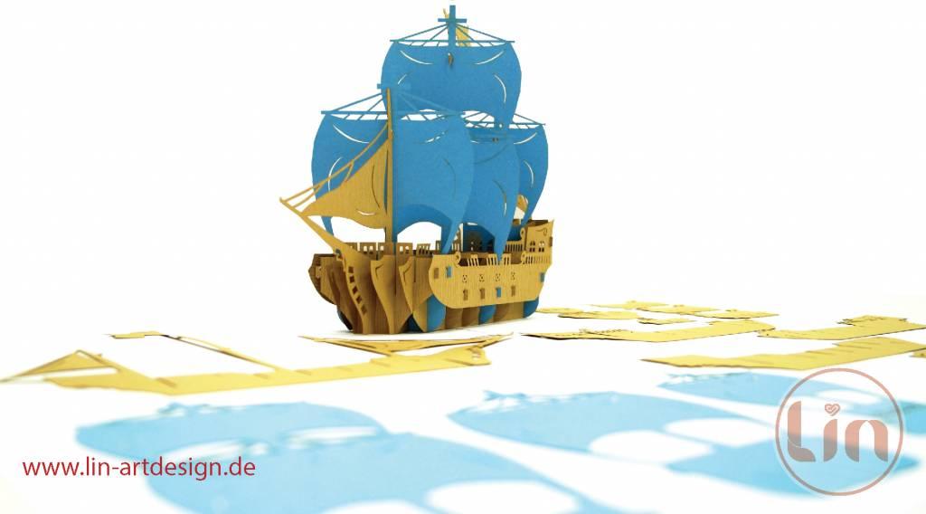 3D Pop Up Puzzle, Piratenschiff (blau)
