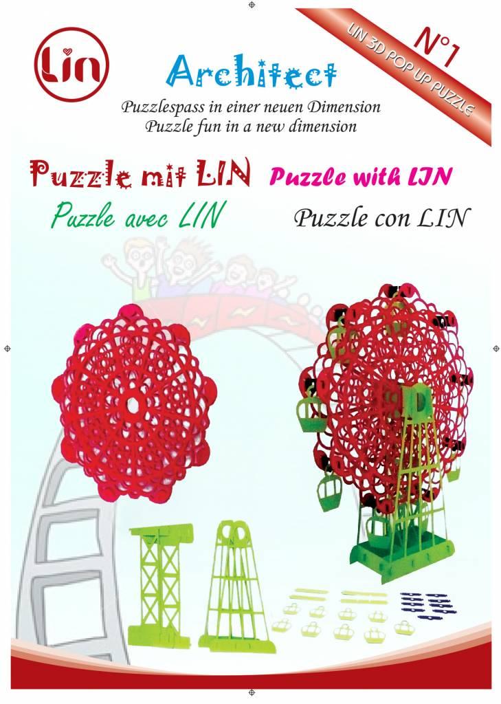 LIN DIY, 3D Pop Up Puzzle, Weihnachtsgeschenk, Weihnachtsdekoration, Klappbares Riesenrad