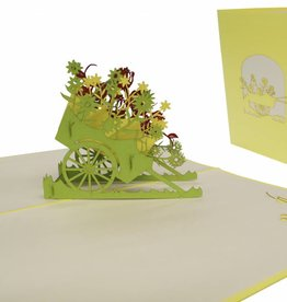 Pop up greeting card, flower cart (yellow)