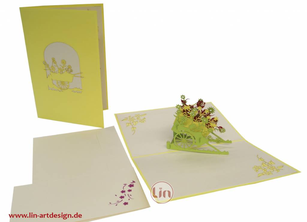 Pop Up 3D Karte, Geburtstagskarte, Glückwunschkarte Muttertag, Blumenwagen, N41