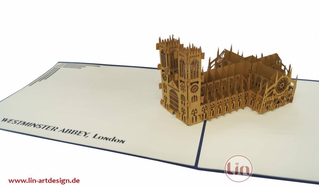Pop Up 3D Karte, Glückwunschkarte, Reisegutschein, Westminster Abbey, N180