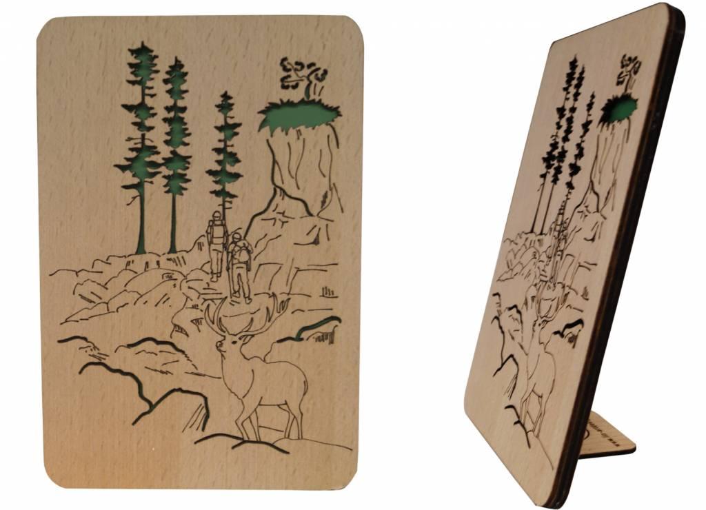 Holzkarte, Glückwunschkarte, Geburtstagskarte, Wander Gutschein, N606