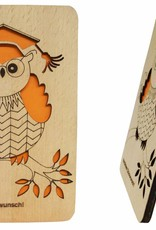 Wood greeting card, Owl with hat