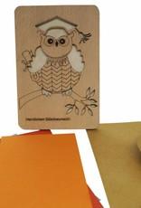 Holzkarte, Glückwunschkarte, Geburtstagskarte, Doktur Eule, N601