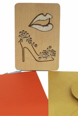 Wood greeting card, Lips and shoes